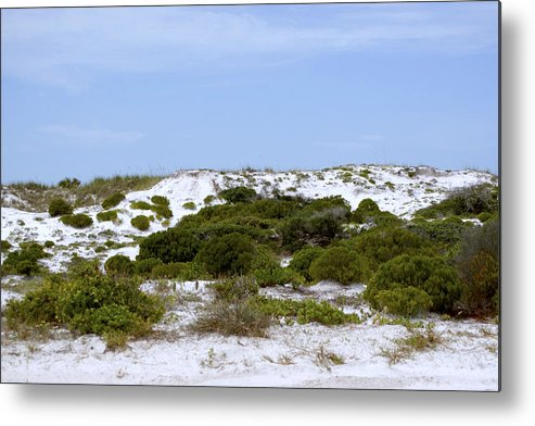 Sand Metal Print featuring the photograph White Sand Dunes And Blue Skies by Tina B Hamilton