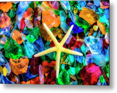 Colorfull Metal Print featuring the photograph White Starfish On Sea Glass by Garry Gay