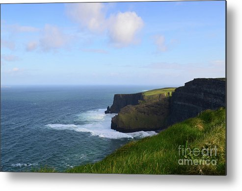 Grass Metal Print featuring the photograph White Water At The Base Of The Cliff's Of Moher by DejaVu Designs