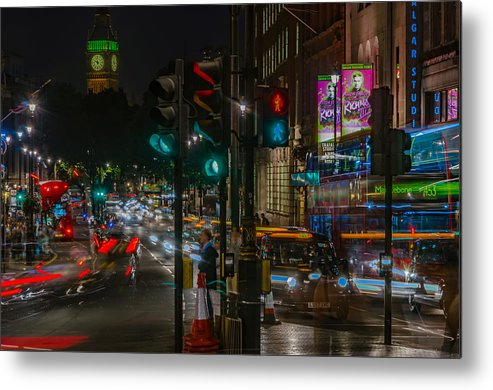 Parliament Metal Print featuring the photograph Whitehall London At Night by Savash Djemal