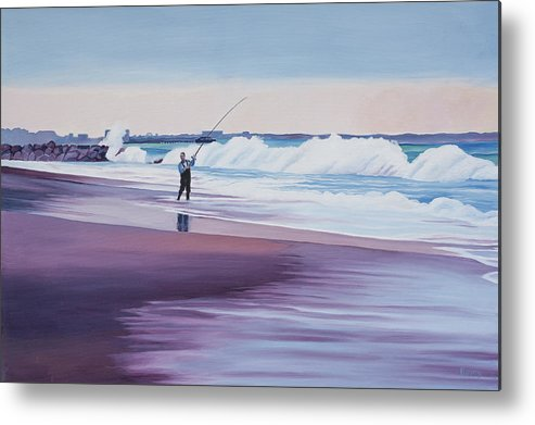 California Metal Print featuring the painting Will Rogers Beach by Romy Muirhead