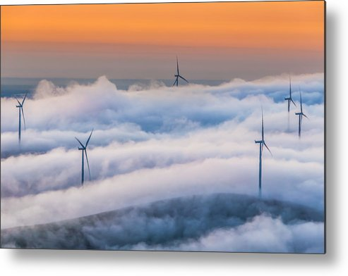 Landscape Metal Print featuring the photograph Wind Turbines At Sunrise by Marc Crumpler