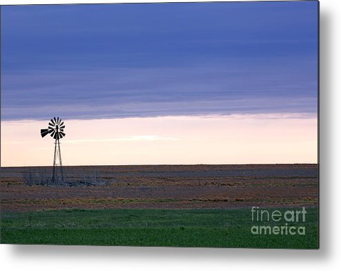 Prairie; Wide Open Spaces; Kansas; Windmill On The Prairie; County; Country Living; Room To Breathe; Kansas Landcape; Windmill On The Horizon; Kansas Horizon; Outdoors Kansas;  Metal Print featuring the photograph Windmill On The Prairie by Betty Morgan