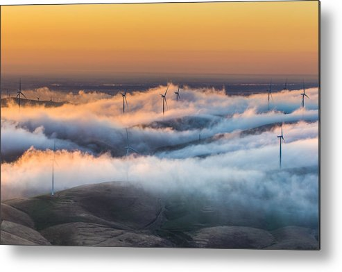 Landscape Metal Print featuring the photograph Windmills And Hills by Marc Crumpler