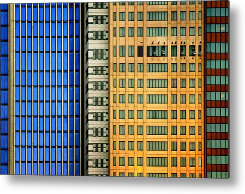 Architecture Metal Print featuring the photograph Windows On The City by Mathilde Guillemot