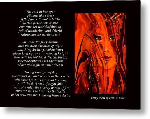 Poetry Metal Print featuring the mixed media Winds Of Fire - Poetry In Art by Robin Monroe