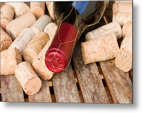 Wine Metal Print featuring the photograph Wine Bottle And Corks by Anastasy Yarmolovich