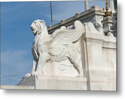 Winged Metal Print featuring the photograph Winged Lion by Fabrizio Ruggeri