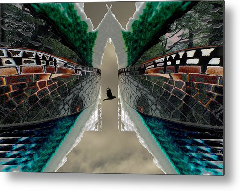 Potography Digital Landscape Wedgetail Eagle Birds Insects Rainforest Global Warming Metal Print featuring the painting Wings To A Rainforest by Sarah King