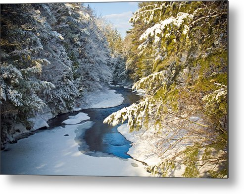 Snow Metal Print featuring the photograph Winter Creek In Morning Light by David Thompson
