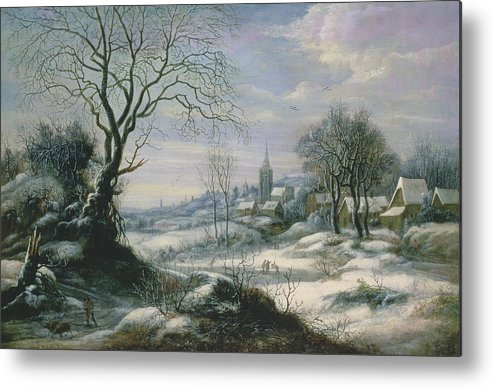 Winter Metal Print featuring the painting Winter Landscape by Daniel van Heil