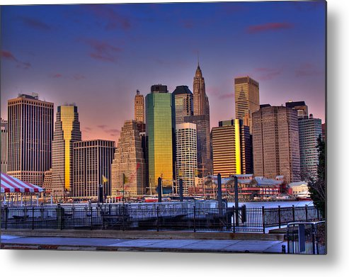 City Metal Print featuring the photograph Winter Sunrise Over Downtown Manhattan by Val Black Russian Tourchin