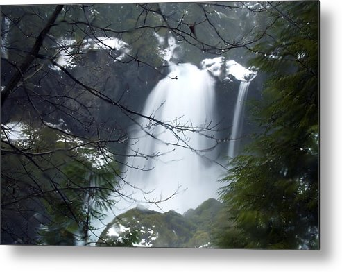 Fog; Horizontal; Obscured By Branches; Sahalee Falls; Snow; Waterfall; Winter Metal Print featuring the photograph Wintertime Shahalee Falls Obscured By Branches by John Higby