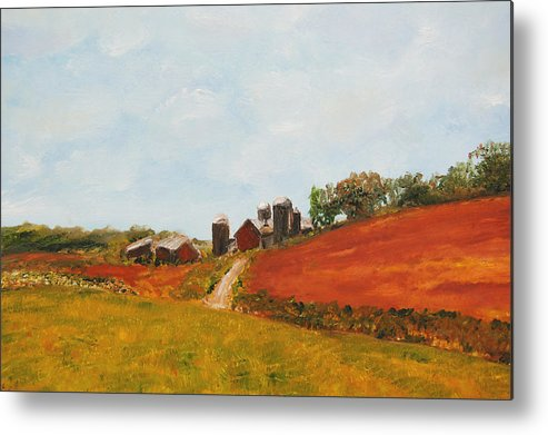 Konkol Metal Print featuring the painting Wisconsin Farm by Lisa Konkol