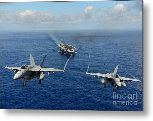Chinfo Metal Print featuring the painting wo F A-18E Super Hornets by Celestial Images