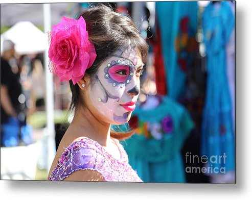 Dia De Los Muertos Metal Print featuring the photograph Woman Beautiful Day Of The Dead by Chuck Kuhn