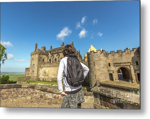 Stirling Castle Metal Print featuring the photograph Woman Looks The Stirling Castle by Benny Marty