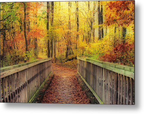 Hdr Metal Print featuring the photograph Wooden Bridge  Hdr by Thomas MacPherson Jr