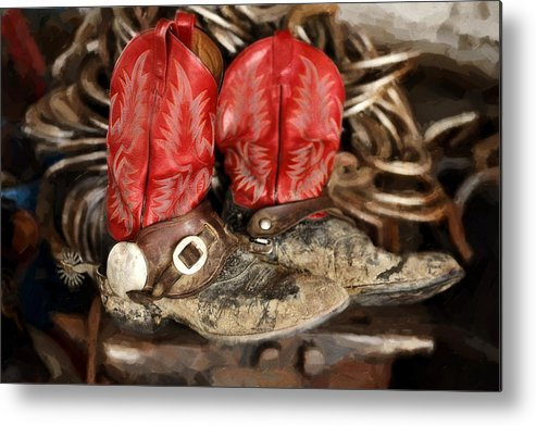 Boots Metal Print featuring the photograph Working Boots by Nick Sokoloff