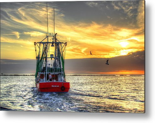 Shrimp Boat Metal Print featuring the photograph Working Man by Bo Lamey