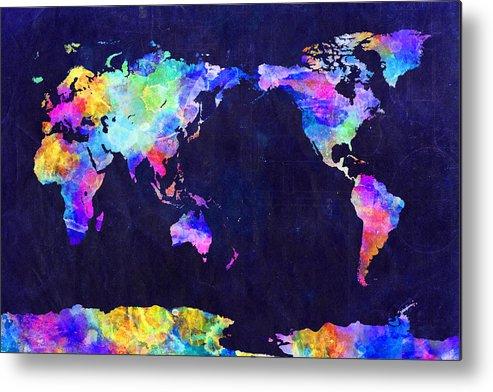 Urban Watercolor World Map.World Map Urban Watercolor Pacific Metal Print By Michael Tompsett