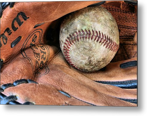 Baseball Metal Print featuring the photograph Worn In by JC Findley