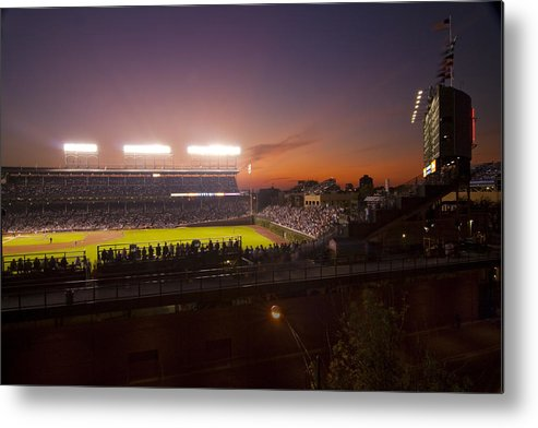 Cubs Metal Print featuring the photograph Wrigley Field At Dusk by Sven Brogren