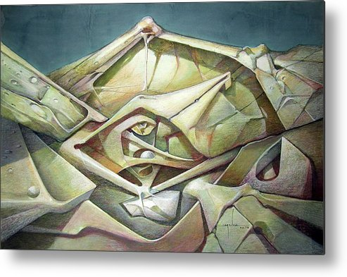 Abstract Metal Print featuring the painting Ws1975ny002 Space Landscape 23 X 34.9 by Alfredo Da Silva