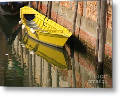 Venice Metal Print featuring the photograph Yellow Boat In Venice by Michael Henderson