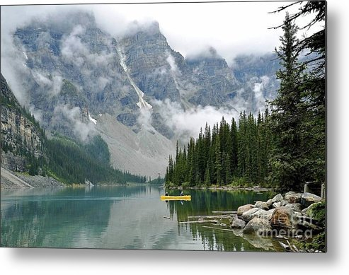 Landscape Metal Print featuring the photograph Yellow Canoe by Gloria Manna