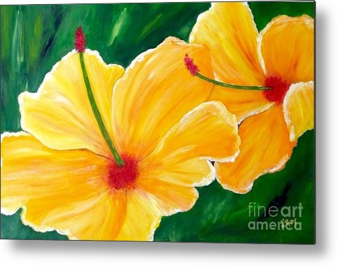 Yellow Flowers Metal Print featuring the painting Yellow Hibiscus by Laura R OKelly