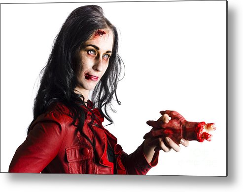 Accident Metal Print featuring the photograph Zombie Shaking Severed Hand by Jorgo Photography - Wall Art Gallery