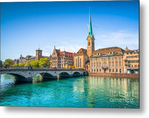 Alps Metal Print featuring the photograph Zurich City Center by JR Photography