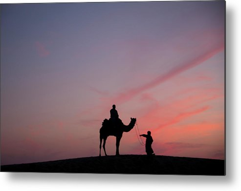 Working Animal Metal Print featuring the photograph 0399-sunset At Sam Sand Dunes by Ajay K Shah