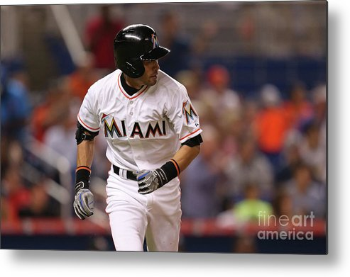 Second Inning Metal Print featuring the photograph Baltimore Orioles V Miami Marlins 1 by Rob Foldy
