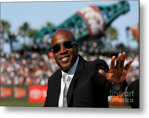 San Francisco Metal Print featuring the photograph Barry Bonds San Francisco Giants Number by Lachlan Cunningham