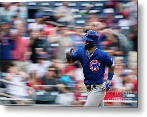 Three Quarter Length Metal Print featuring the photograph Chicago Cubs V Washington Nationals by Scott Taetsch