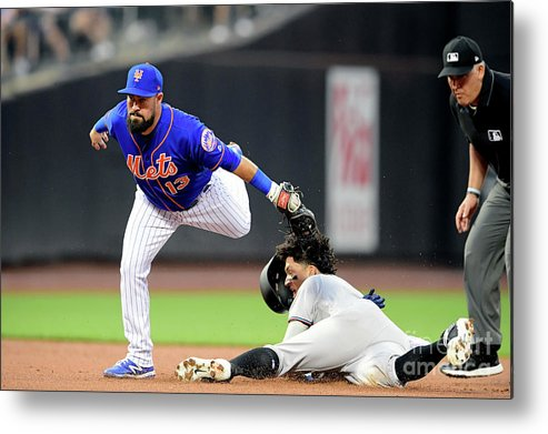 American League Baseball Metal Print featuring the photograph Miami Marlins V New York Mets - Game Two by Steven Ryan