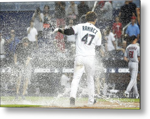 American League Baseball Metal Print featuring the photograph Minnesota Twins V Miami Marlins 1 by Michael Reaves