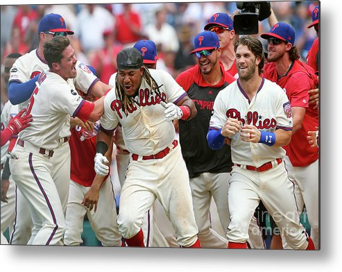 People Metal Print featuring the photograph Washington Nationals V Philadelphia 1 by Rich Schultz