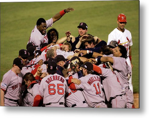 Celebration Metal Print featuring the photograph World Series Red Sox V Cardinals Game 4 1 by Stephen Dunn