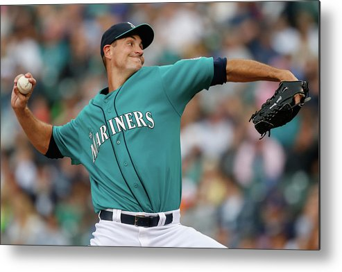 American League Baseball Metal Print featuring the photograph Cleveland Indians V Seattle Mariners by Otto Greule Jr