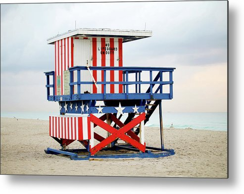 Miami Beach Metal Print featuring the photograph 13th Street Lifeguard Tower - Miami Beach by Art Block Collections