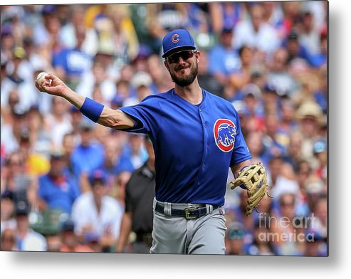 Three Quarter Length Metal Print featuring the photograph Chicago Cubs V Milwaukee Brewers 15 by Dylan Buell