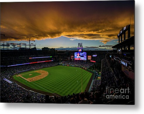 American League Baseball Metal Print featuring the photograph Los Angeles Dodgers V Colorado Rockies by Justin Edmonds