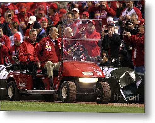 Crowd Metal Print featuring the photograph 2011 World Series Game 6 - Texas 2 by Ezra Shaw