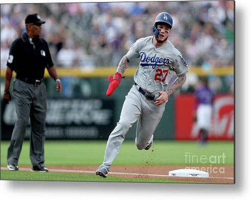 People Metal Print featuring the photograph Los Angeles Dodgers V Colorado Rockies 2 by Matthew Stockman