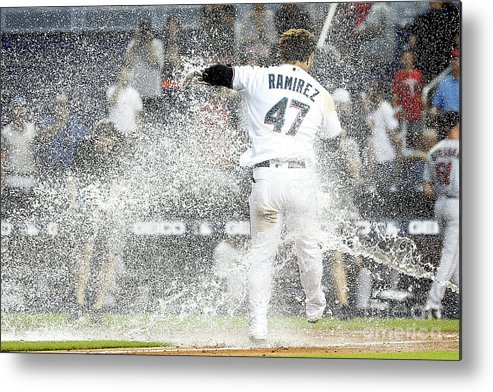 American League Baseball Metal Print featuring the photograph Minnesota Twins V Miami Marlins 2 by Michael Reaves