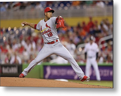 St. Louis Cardinals Metal Print featuring the photograph St Louis Cardinals V Miami Marlins by Rob Foldy