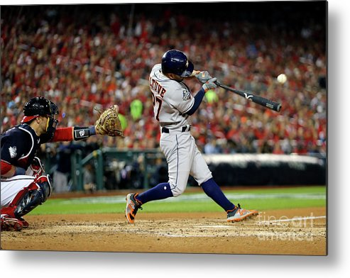 American League Baseball Metal Print featuring the photograph 2019 World Series Game 5 - Houston by Alex Trautwig